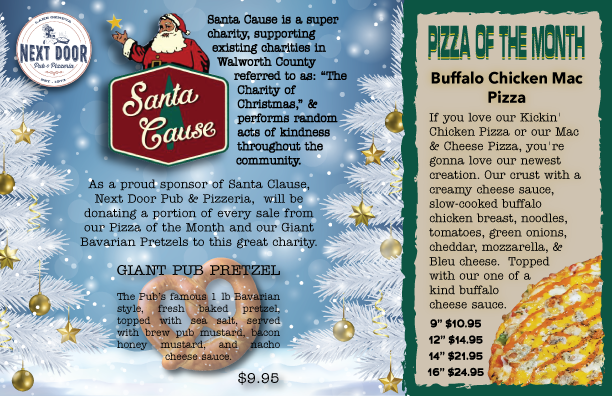 Buffalo Chicken Mac Pizza with Santa Cause Side by Side